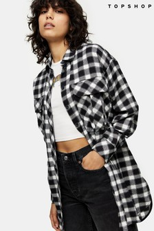 Topshop Casual Oversize Check Blouse