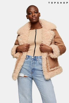 Topshop Victoria Fluffy Shierling Jacket