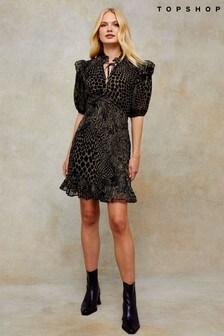 Topshop Idol V Neck Ruffle Tea Dress