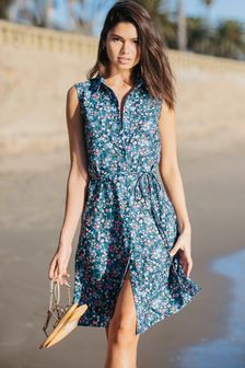 Lipsy Tie Waist Printed Shirt Dress
