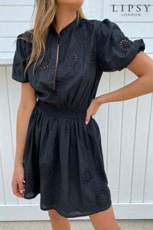 Lipsy Broderie Grandad Collar Shirt Dress