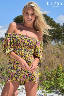 Lipsy Ditsy Floral Puff Sleeve Playsuit
