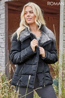 Roman Originals Faux Fur Collar Padded Biker Coat