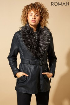 Roman Originals Longline Faux Leather Belted Coat