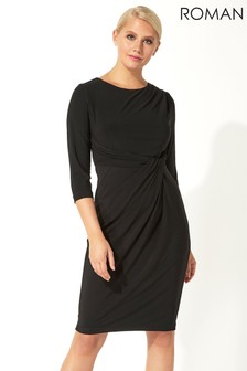 Roman Originals Three Quarter Sleeve Twist Waist Dress