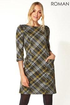 Roman Originals Check Print Three Quarter Sleeve Shift Dress