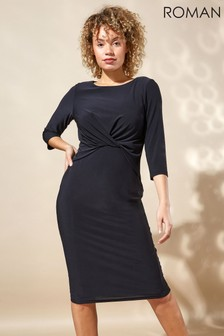 Roman Originals Twist Front Three Quarter Sleeve Shift Dress