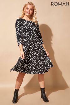 Roman Originals Spot Print Pleat Waist Skater Dress