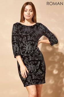 Roman Embroidered Floral Velvet Dress