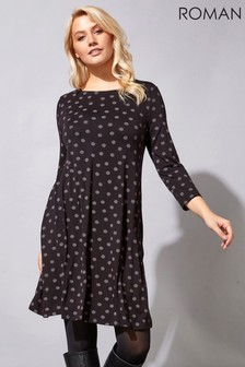 Roman Spot Print Swing Dress