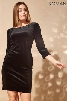 Roman Velvet 3/4 Sleeve Bodycon Dress