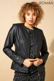 Roman Collarless Faux Leather Biker Jacket