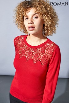 Roman Originals Paisley Lace Yoke Jumper