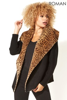 Roman Originals Animal Print Faux Shearling Coatigan