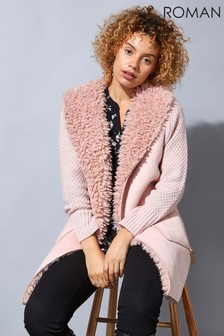 Roman Originals Longline Faux Shearling Knit Coatigan