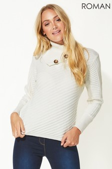 Roman Originals Textured Knit Button Detail Jumper