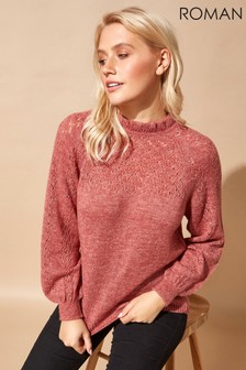 Roman Originals Frill Neck Pointelle Knitted Jumper