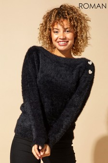Roman Originals Button Detail Fluffy Roll Neck Jumper