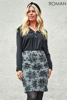 Roman Originals Check Floral Jersey Pencil Skirt