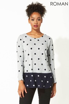 Roman Originals Contrast Spot Print Long Sleeve Top