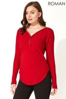 Roman Originals Zip Front Textured Top