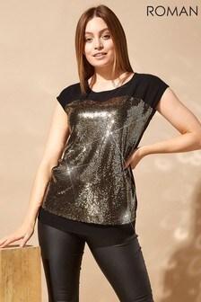Roman Originals Mesh Yoke Sequin T Shirt