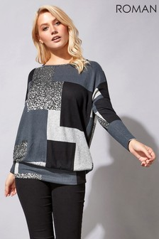Roman Colour Block Blouson Top