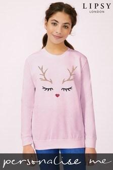 Personalised Lipsy Christmas Reindeer Sparkle Kid's Sweatshirt by Instajunction
