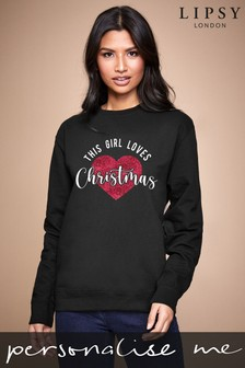 Personalised Lipsy This Girls Loves Christmas Women's Sweatshirt by Instajunction