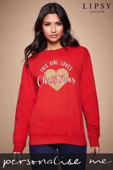 Personalised Lipsy This Girls Loves Christmas Women's Sweatshirt by Instajunction