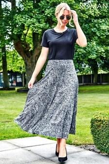 Roman Paisley Print Burnout Midi Skirt