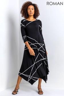 Roman Linear Print Hanky Hem Dress