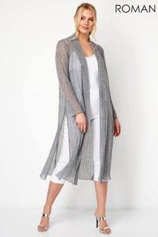 Roman Plisse Metallic Kimono Coverup