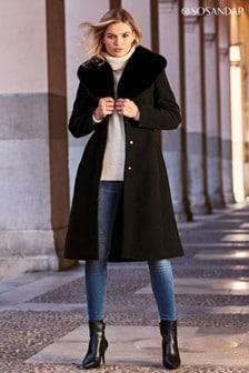 Sosandar Faux Fur Collar Belted Coat