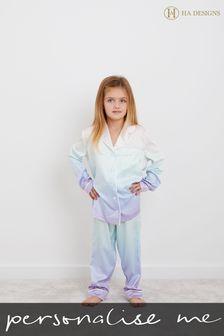 Personalised HA Mini Girls Long Sleeve Rainbow Pyjama Set by HA Design