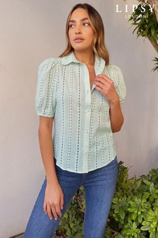 Lipsy Broderie Puff Sleeve Shirt