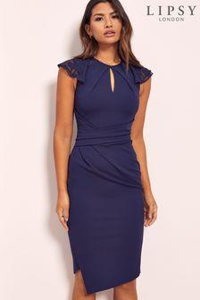Lipsy Frill Sleeve Keyhole Midi Dress