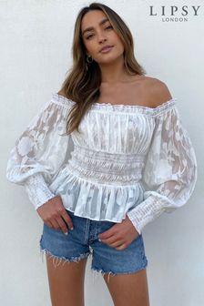 Lipsy Shirred Bardot Top