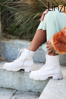 Linzi Nappa Lace-Up Military Style Boot With Cleated Sole