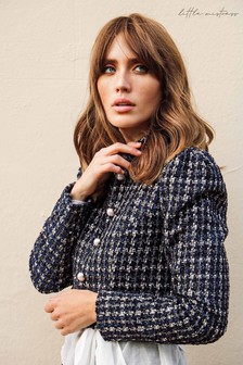 Little Mistress Rossa Boucle Pearl Detail Cropped Jacket