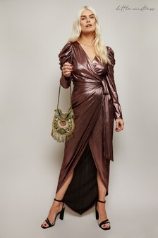 Little Mistress Iliya Rose Lurex Tie Waist Maxi Dress