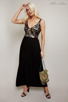 Little Mistress Nikita Sequin Pleated Midaxi Dress