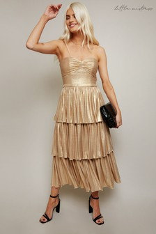 Little Mistress Savva Lurex Belted Tiered Midi Dress