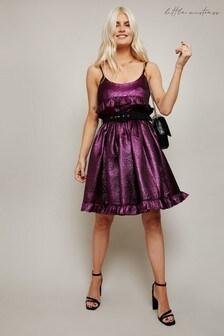 Little Mistress Tamara Jacquard Belted Mini Prom Dress