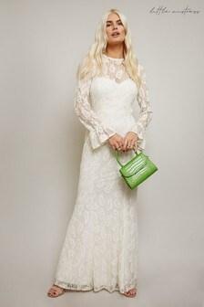 Little Mistress Aurora Velvet Lace Belted Fishtail Maxi Dress