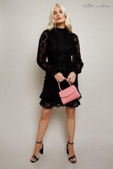 Little Mistress Alessia Velvet Lace Frill Mini Dress