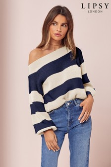 Lipsy Stripe Slash Neck Knitted Jumper