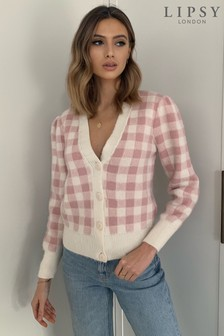 Lipsy Gingham Check Button Through Puff Sleeve Cardigan