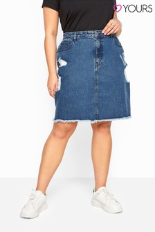Yours Curve Distressed Denim Skirt