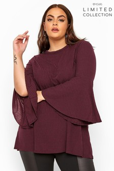 Yours Limited Collection Ribbed Flare Sleeve Top